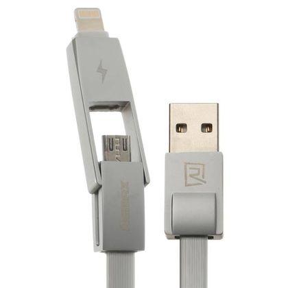 تصویر کابل تبدیل USB به microUSB/لایتنینگ ریمکس مدل RC-042t طول 1 متر